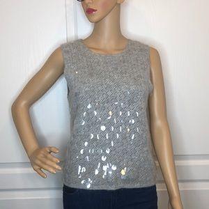 Perry Ellis Gray Angora & Sequin Sweater Size L